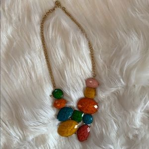 Gold Multicolor Stone Gold Statement Necklace